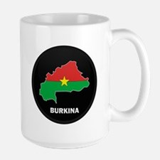Flag Map of Burkina faso Large Mug