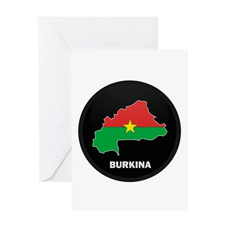 Flag Map of Burkina faso Greeting Card
