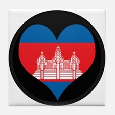 I love Cambodia Flag Tile Coaster