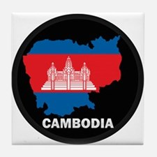 Flag Map of Cambodia Tile Coaster