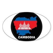 Flag Map of Cambodia Oval Decal