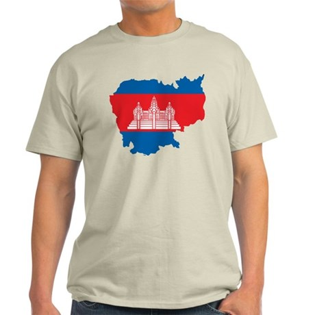 Cambodia Flag Map Light T-Shirt