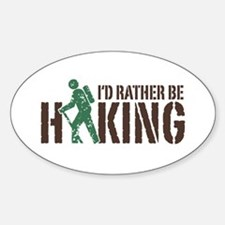 I'd Rather Be Hiking Oval Bumper Stickers