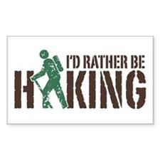 I'd Rather Be Hiking Rectangle Decal