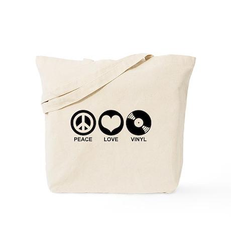Peace Love Vinyl Tote Bag