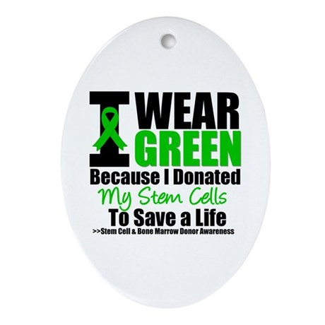 StemCellDonorIWearGreen Oval Ornament