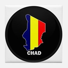 Flag Map of Chad Tile Coaster