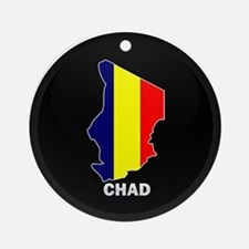 Flag Map of Chad Ornament (Round)