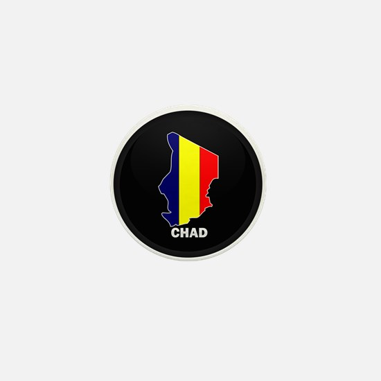 Flag Map of Chad Mini Button
