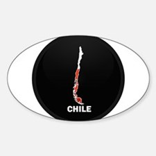 Flag Map of Chile Oval Decal