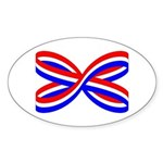 RED, WHITE, AND BLUE RIBBON Oval Sticker (10 pk)