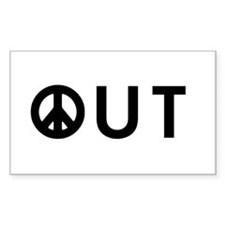 Peace Out Rectangle Decal