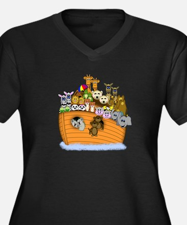 Noah's Ark Women's Plus Size V-Neck Dark T-Shirt