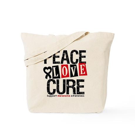 Melanoma PeaceLoveCure Tote Bag