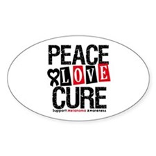 Melanoma PeaceLoveCure Oval Decal