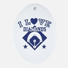 I Love Diamonds Oval Ornament