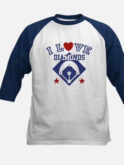 I Love Diamonds Kids Baseball Jersey