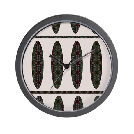 Retro Oval/Lines Abstract Painting Wall Clock