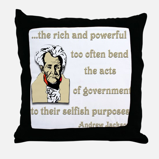 Andrew Jackson on the rich and powerful Throw Pill