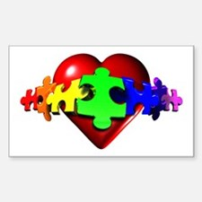 3D Heart Puzzle Rectangle Stickers