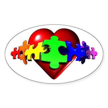 3D Heart Puzzle Oval Sticker (10 pk)