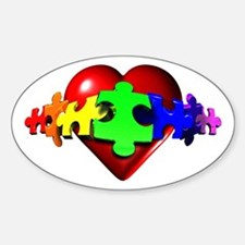 3D Heart Puzzle Oval Decal