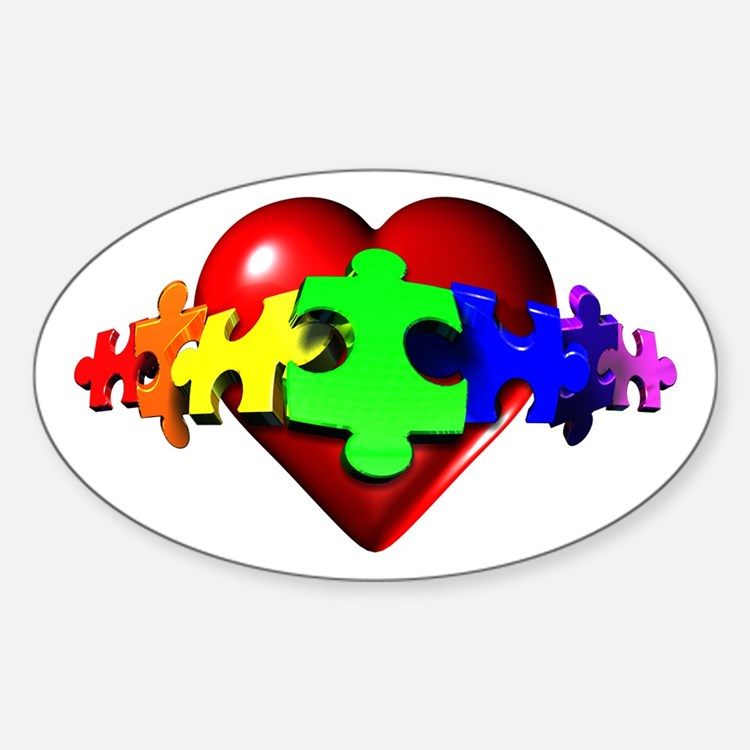 3D Heart Puzzle Oval Stickers