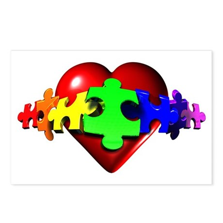 3D Heart Puzzle Postcards (Package of 8)