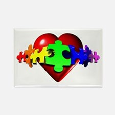 3D Heart Puzzle Rectangle Magnet (10 pack)