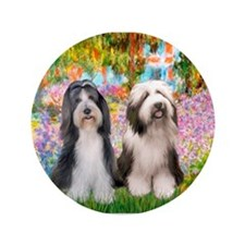 "Garden / 2 Bearded Collie 3.5"" Button"