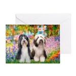 Garden / 2 Bearded Collie Greeting Card