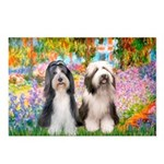 Garden / 2 Bearded Collie Postcards (Package of 8)