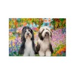 Garden / 2 Bearded Collie Rectangle Magnet (10 pac