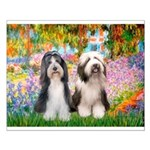 Garden / 2 Bearded Collie Small Poster