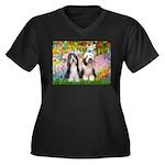 Garden / 2 Bearded Collie Women's Plus Size V-Neck