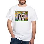 Garden / 2 Bearded Collie White T-Shirt