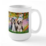 Garden / 2 Bearded Collie Large Mug