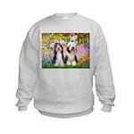 Garden / 2 Bearded Collie Kids Sweatshirt