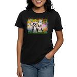 Garden / 2 Bearded Collie Women's Dark T-Shirt