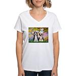 Garden / 2 Bearded Collie Women's V-Neck T-Shirt