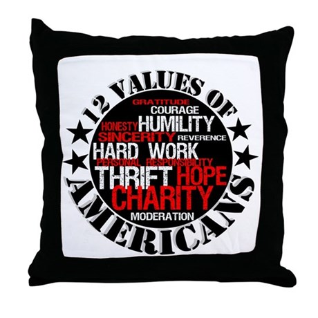 """12 Values of Americans "" Throw Pillow"
