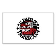 """12 Values of Americans "" Rectangle Decal"