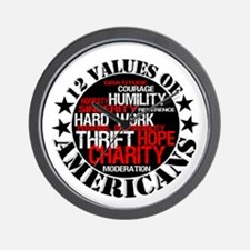 """""""12 Values of Americans """" Wall Clock"""