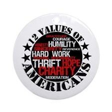 """12 Values of Americans "" Ornament (Round)"