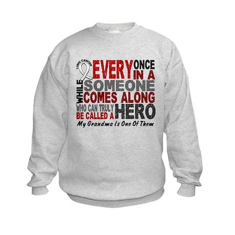 HERO Comes Along 1 Grandma LUNG CANCER Kids Sweats