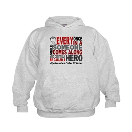 HERO Comes Along 1 Grandma LUNG CANCER Kids Hoodie