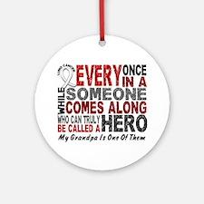 HERO Comes Along 1 Grandpa LUNG CANCER Ornament (R