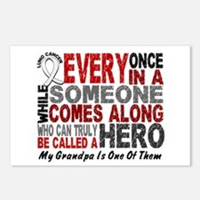 HERO Comes Along 1 Grandpa LUNG CANCER Postcards (