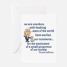 Thomas Jefferson on the banks Greeting Cards (Pk o