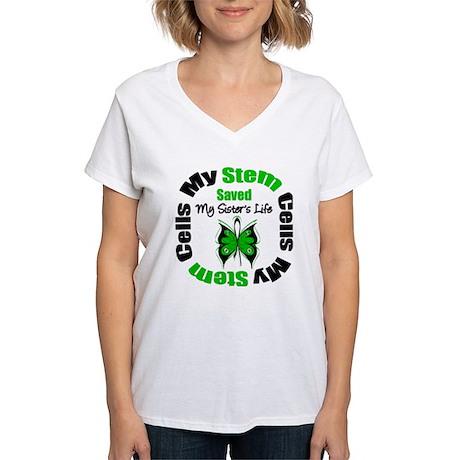 MyStemCellsSavedSister Women's V-Neck T-Shirt